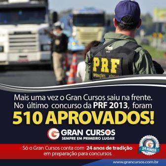 PRF: Gran Cursos em primeiro lugar!