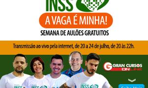 Semana de aulões gratuitos para o concurso INSS! Seleção cada vez mais próxima! Participe!