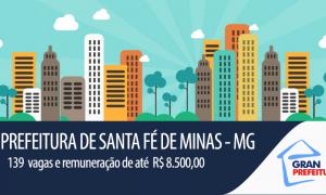 Santa Fé de Minas – MG prevê mais de 100 contratações, com remuneração máxima de R$ 8.500,00.