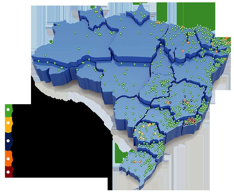 (Fonte: Ministério da Educação) Mapa com a distribuição das universidades federais, institutos federais, escolas técnicas, UTFPR e Colégio Pedro II.