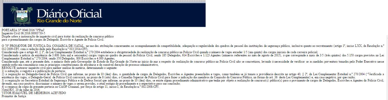 Portaria de instauração de inquérito para o concurso Polícia Civil RN.