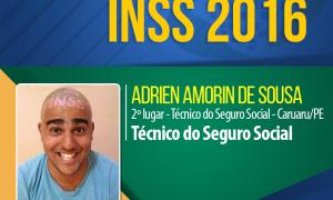 4 meses de estudo focado após a publicação do edital e Adrien Amorin foi aprovado em 2º lugar no INSS!