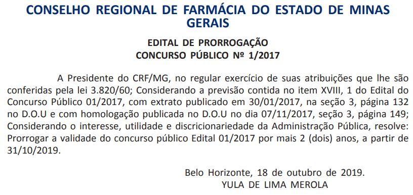 Concurso CRF MG: validade prorrogada até outubro de 2021