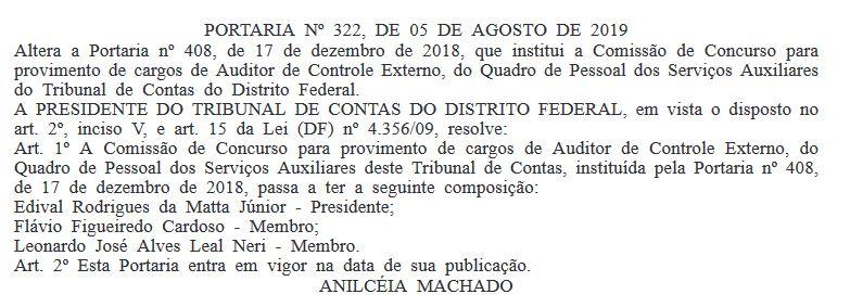 Concurso TCDF: Comissão formada para Auditor de Controle Externo.