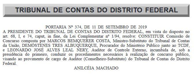 Concurso TCDF: comissão formada para o cargo de Auditor Conselheiro-Substituto.