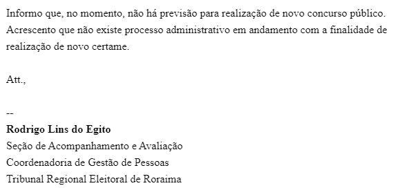 Concurso TRE RR: resposta da Assessoria de Imprensa.
