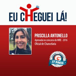 Priscilla Antonello está entre os 60 aprovados no concurso do MRE 2016