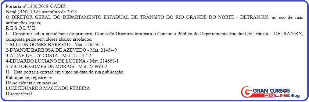 Concurso DETRAN RN: comissão formada