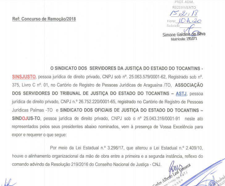 Documento sobre o edital TJ TO.
