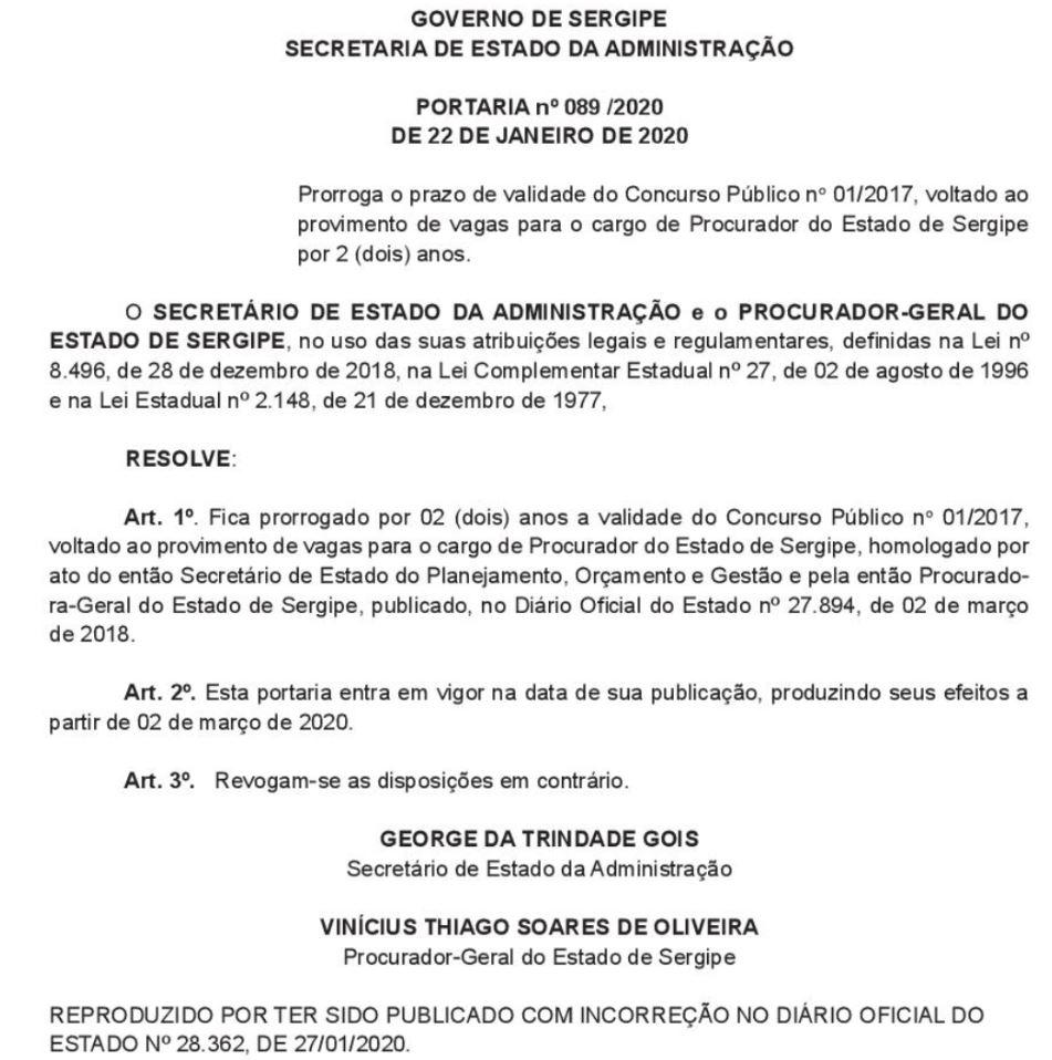 Portaria de prorrogação do concurso PGE Sergipe
