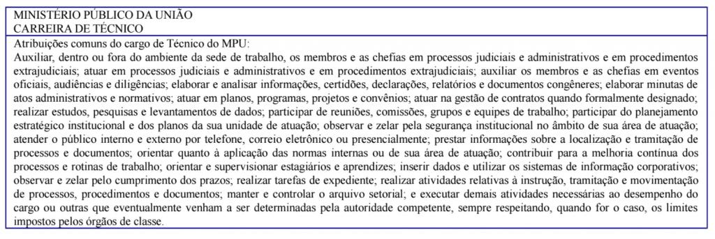 Descrição da carreira de técnico para o concurso MPU.