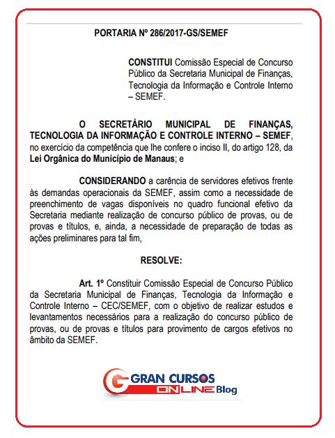 Concurso ISS Manaus deverá ter edital publicado ainda em 2018.