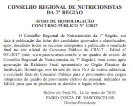 Concurso CRN 7: homologação do concurso!