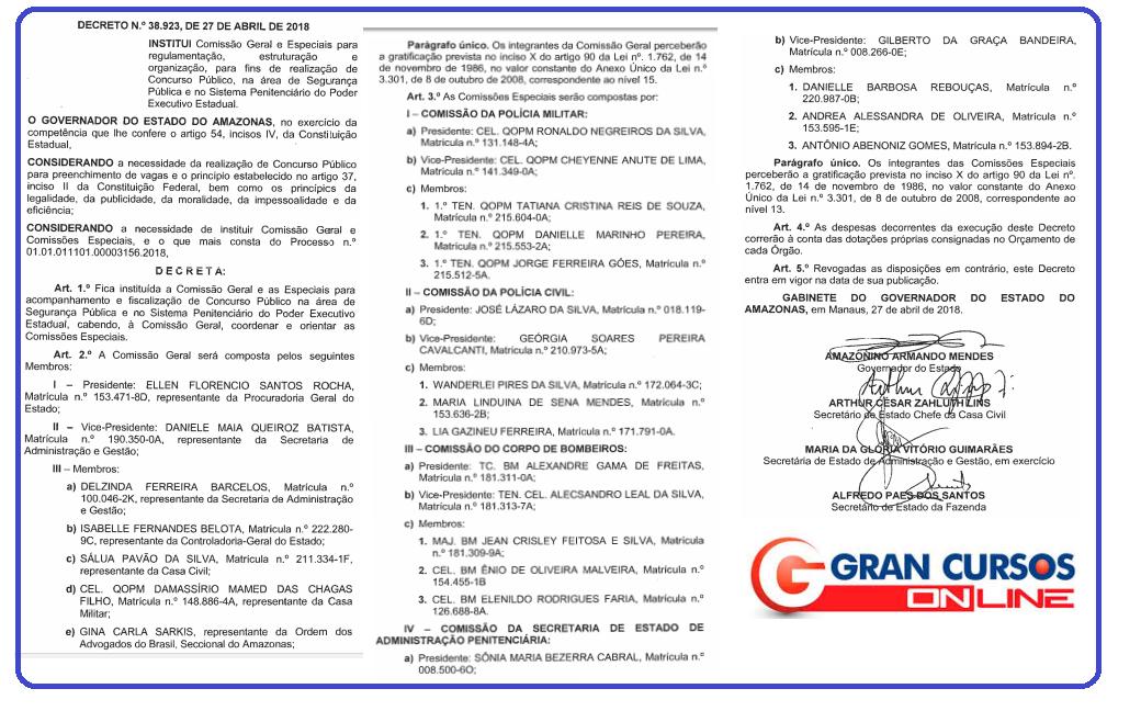 Decreto que institui a comissão geral para o Concurso PC AM