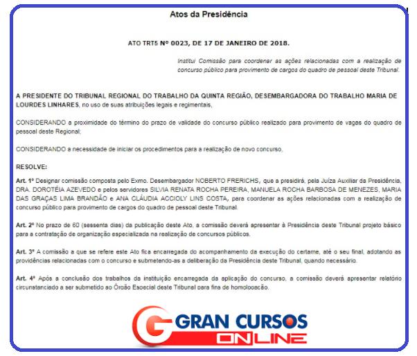 Concurso TRT BA: comissão interna definida e até R$ 14 mil!
