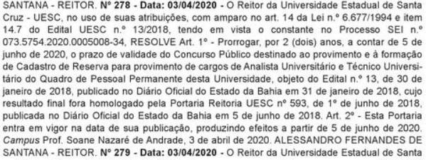 documento de prorrogação do concurso UESC BA