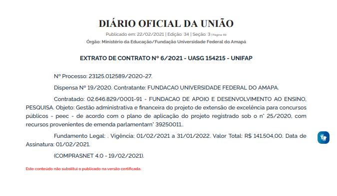 Concurso UNIFAP: extrato de contrato