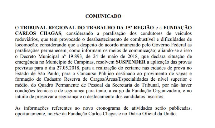 Concurso TRT 15: provas são adiadas devido à greve dos caminhoneiros.