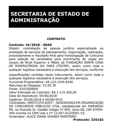 Concurso Santa Casa PA: contrato com Instituto AOCP