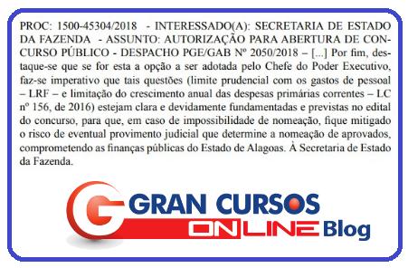 Concurso Sefaz AL: autorização do certame em junho de 2018.