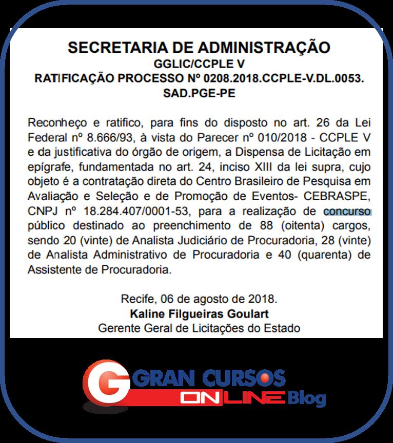 Concurso PGE PE: ratificação da escolha da banca.