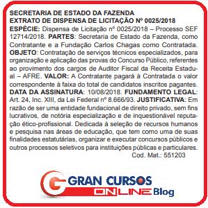 Dispensa de licitação do concurso Sefaz SC.