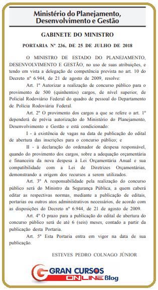 Documento de autorização do edital PRF.