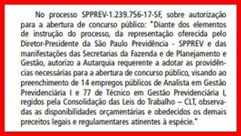 Concurso SPPrev: autorizado! Veja na imagem extraída do Diário Oficial de SP.