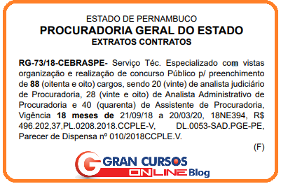 Concurso PGE PE: extrato de contrato da banca.