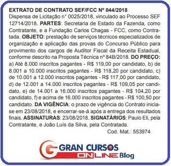 Extrato do contrato da banca para o concurso Sefaz SC.