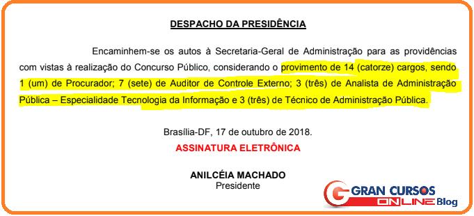 Autorização do edital TCDF!