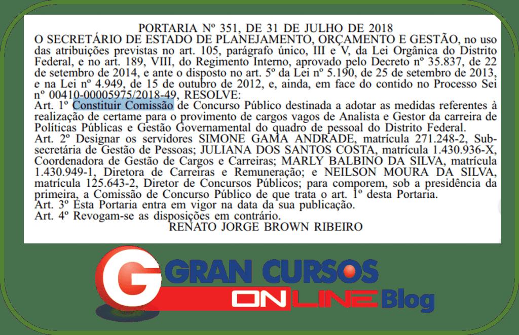 Comissão formada para o edital PPGG DF.