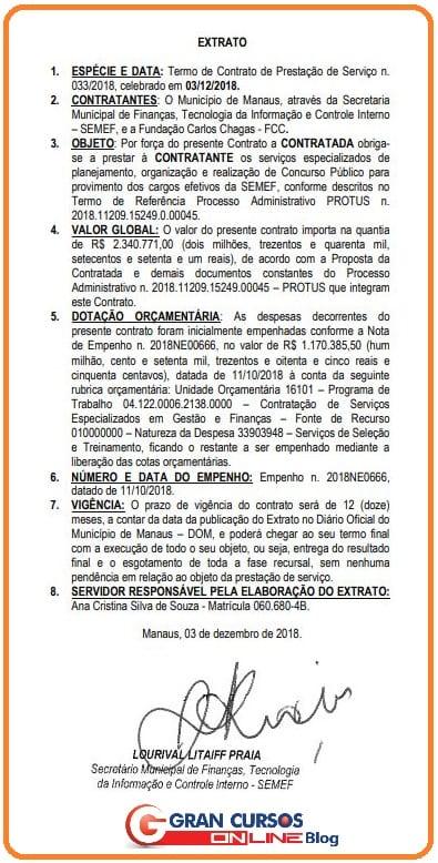 Extrato de contratação da FCC para o concurso ISS Manaus.