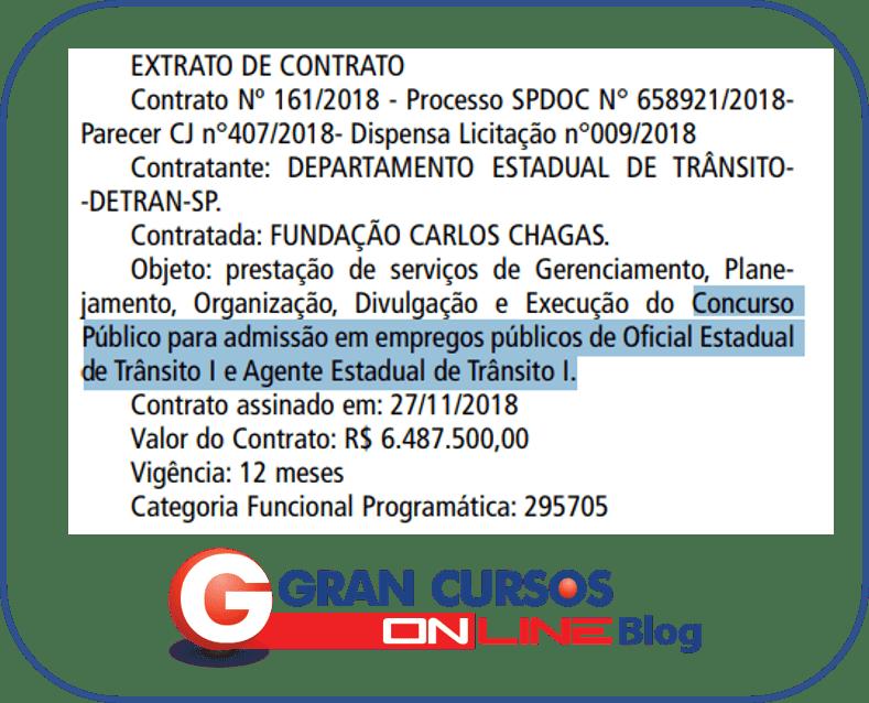 Concurso Detran SP. Extrato de concurso.