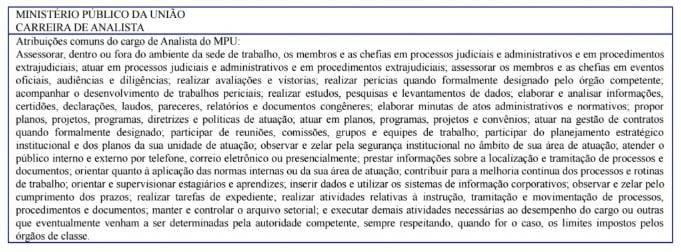 Descrição da carreira de analista para o concurso MPU.