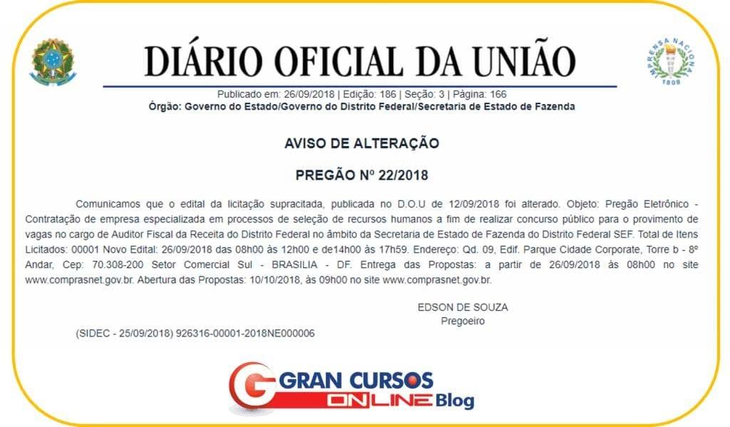 Documento de Definição de Banca do concurso SEFAZ DF.