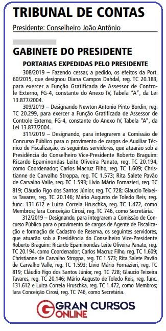 Concurso TCM SP: Portaria publicada no Diário Oficial da Cidade de São Paulo.