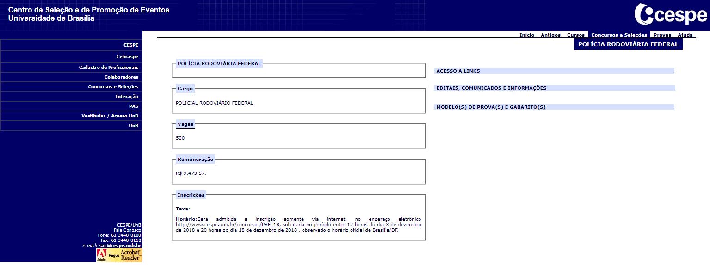 Página do concurso PRF no site do Cebraspe.