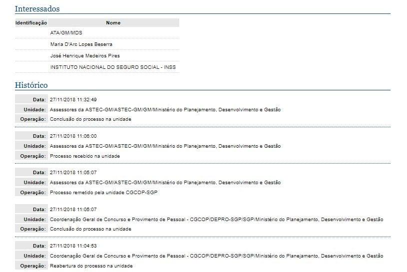 Últimas movimentações do edital INSS no planejamento.