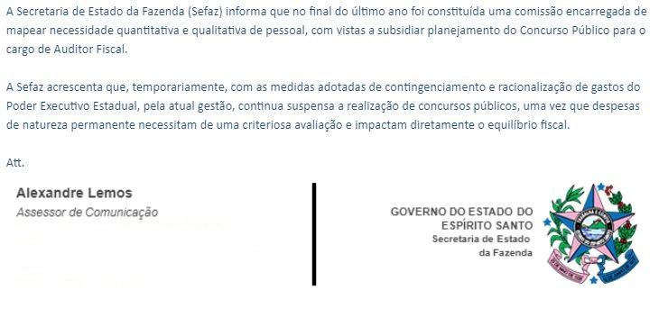 Concurso Sefaz ES: nota da Assessoria de Imprensa.