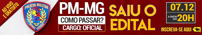 Concurso PMMG: banner saiu o edital!