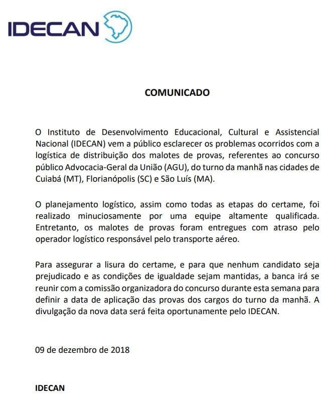 Concurso AGU: nota de cancelamento