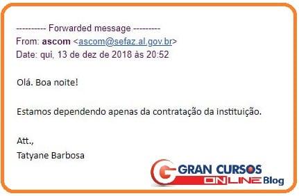 Resposta do órgão sobre o concurso SEFAZ AL.