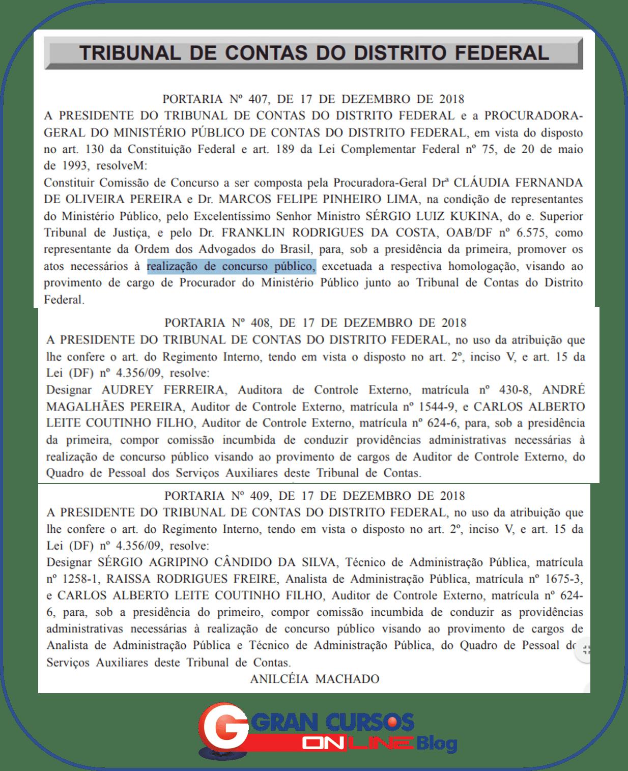 Concurso TCDF: Portaria para constituição de comissão!