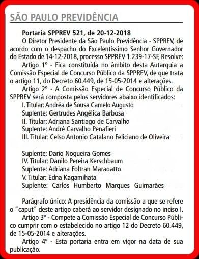 Concurso SPPrev: Comissão formada! Informação do dia 21/12/2018.