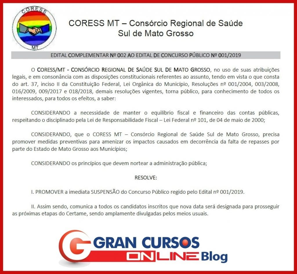 Concurso CORESS MT: documento de suspensão do certame.