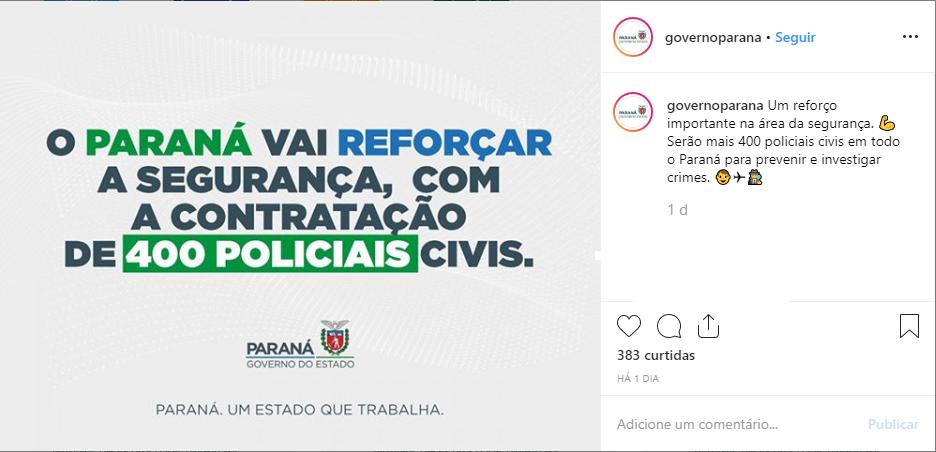 Concurso PC PR: anuncio em rede social do governo do Estado do Paraná.