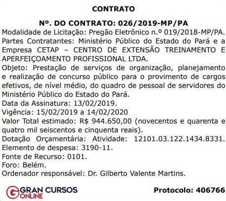 Concurso MP PA: extrato do contrato com a banca!