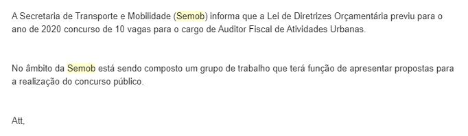 Concurso Semob DF: nota da Assessoria de Imprensa.