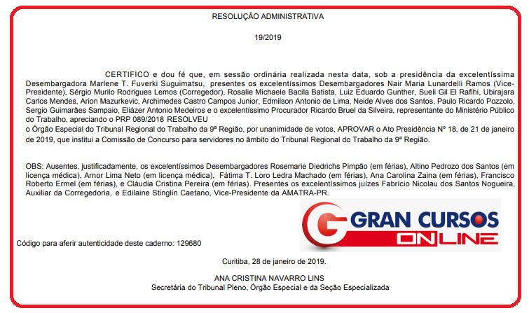 Comissão do concurso TRT PR